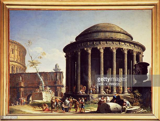 Roman monuments and The Temple of Vesta by CharlesLouis Clerisseau oil on canvas Rome Galleria Nazionale D'Arte Antica Di Palazzo Corsini