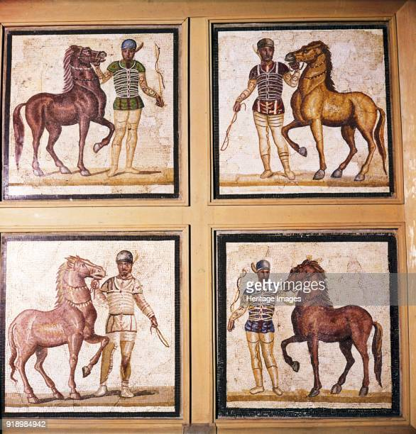 Roman Mosaic Charioteers wearing Racing Colours of their sponsors 1st3rd century National Roman Museum Artist Dioscurides of Samos