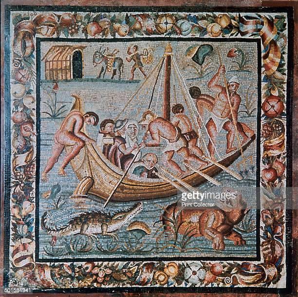 Roman mosaic of a ferryboat on the Nile from Pompeii 2nd century
