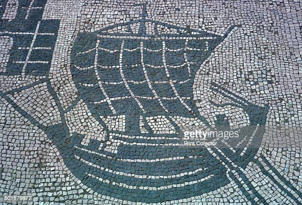 Roman mosaic of a merchant ship with steering orars from the Square of the Corporations in Ostia 2nd century