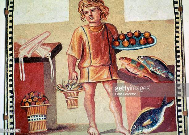 Roman mosaic of a slave boy possibly named Junius in a kitchen from Pompeii