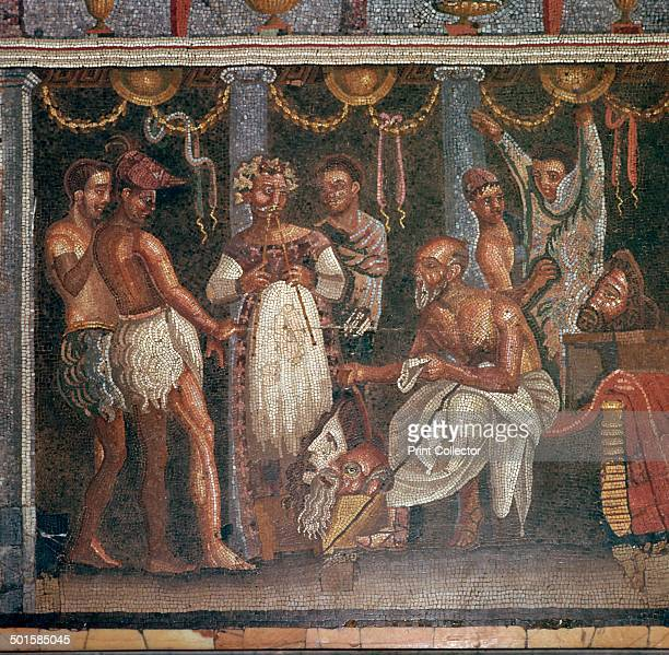 Roman mosaic of actors preparing for a play originally from Pompeii in the National Archaeological Museum's collection in Naples