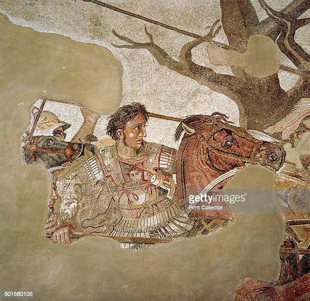 Roman mosaic of Alexander the Great at the Battle of Issus in 333 BC, Pompeii, Italy, . Alexander the Great fighting the Persian king Darius in what...