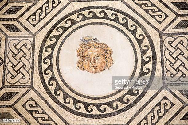 Roman mosaic of Medusa archaeological display inside the Alcazar palace Cordoba Spain