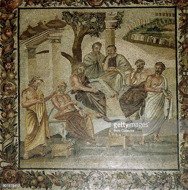 Roman mosaic of Plato and his school of philosophers Pompeii Italy