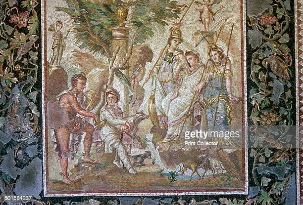 Roman mosaic of the judgement of Paris where he judged who was the most beautiful between Aphrodite Athena and Hera He chose Aphrodite who promised...