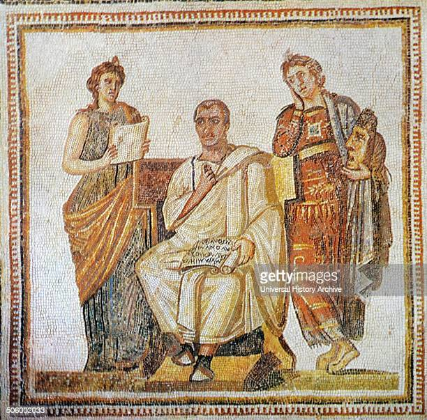 Roman mosaic of Virgil Ancient Roman poet of the Augustan period Dated 1st Century BC