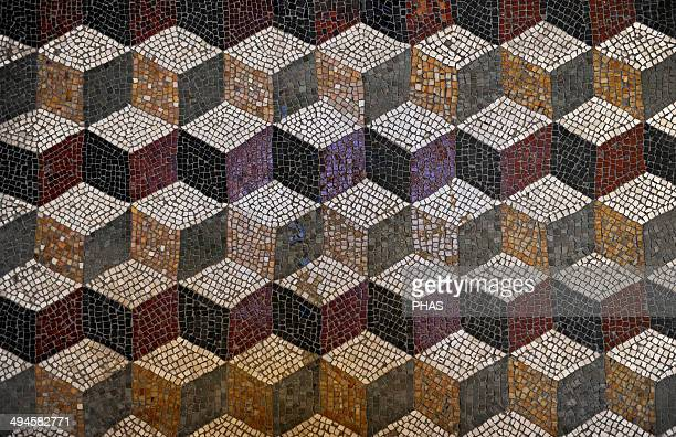 Roman mosaic with a cube pattern giving a three dimensional effect Glyptothek Munich Germany