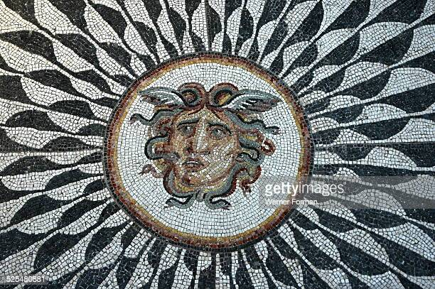 Roman mosaic with the head of Medusa, 298 - 306 AD, diocletian Baths, Rome.