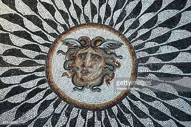 Roman mosaic with the head of Medusa 298 306 AD diocletian Baths Rome