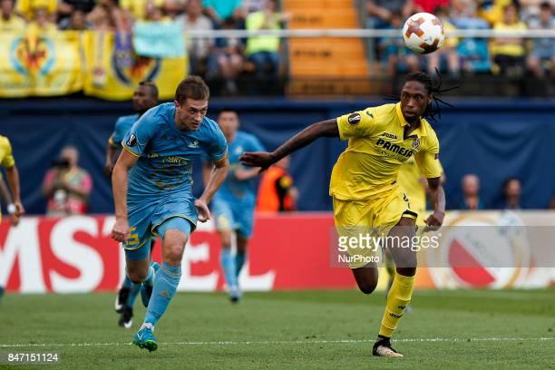 45 Roman Murtazayev of Football Club Astana in action against 04 Ruben Alfonso Borges Semedo of Villarreal CF during the UEFA Europa League Group A...