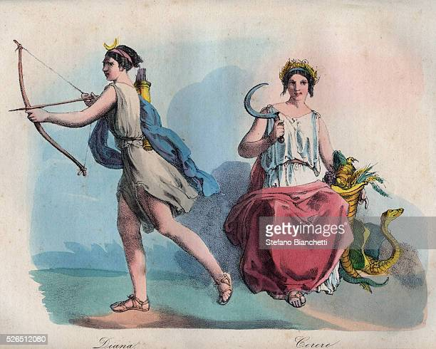 Roman mythology Diana the goddess of the hunt and Ceres goddess of agriculture engraving from 'Usi e Costumi di Tutti i Popoli dell'Universo Ovvero...