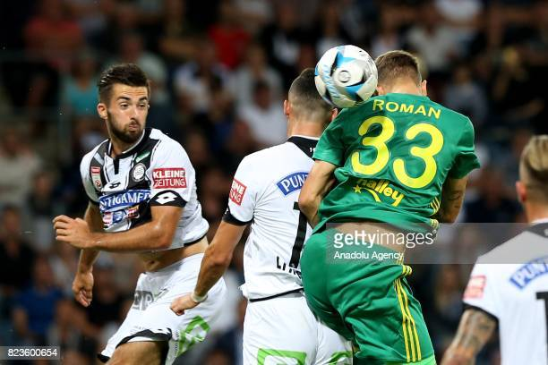 Roman Neustadter of Fenerbahce in action against Lykogiannis of Sturm Graz during the UEFA Europa League third qualifying round match between Sturm...