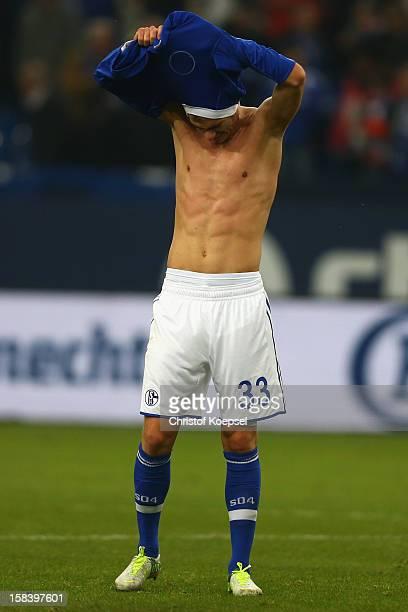 Roman Neustaedter looks dejected after the Bundesliga match between FC Schalke 04 and SC Freiburg at VeltinsArena on December 15 2012 in...