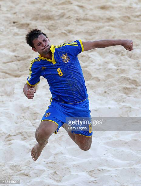 Roman Pachev of Ukraine celebrates during the Men's Beach Soccer Group A match between Portugal and Ukraine on day thirteen of the Baku 2015 European...