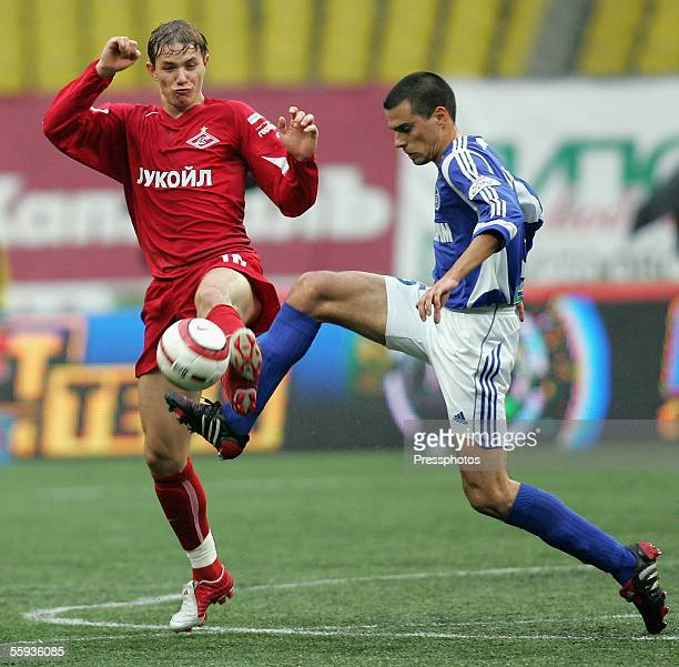 Roman Pavlychenko of Spartak and Milan Vieshtica of Zenit in action during the Russian Premier League match Luzhniki Stadium on October 16 2005 in...