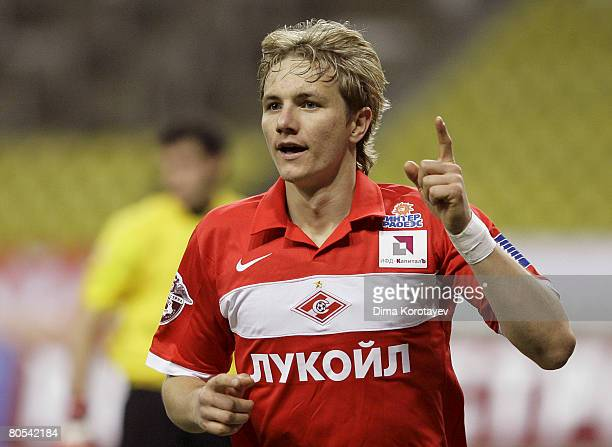 Roman Pavlyuchenko of FC Spartak Moscow celebrates after scoring goal during the Russian Football League Championship match between FC Spartak and FC...