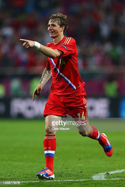 Roman Pavlyuchenko of Russia celebrates scoring their fourth goal during the UEFA EURO 2012 group A match between Russia and Czech Republic at The...