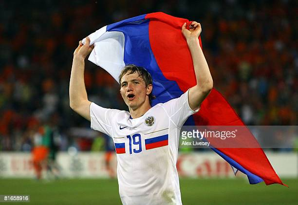 Roman Pavlyuchenko of Russia celebrates victory after the UEFA EURO 2008 Quarter Final match between Netherlands and Russia at St JakobPark on June...