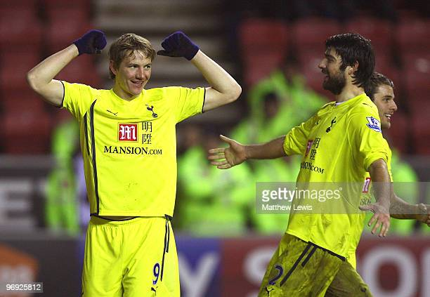 Roman Pavlyuchenko of Tottenham celebrates his goal during the Barclays Premier League match between Wigan Athletic and Tottenham Hotspur at the DW...