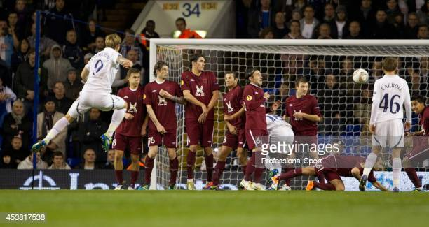 Roman Pavlyuchenko of Tottenham Hotspur scores from a free kick during the UEFA Europa League Group A match between Tottenham Hotspur and FC Rubin...