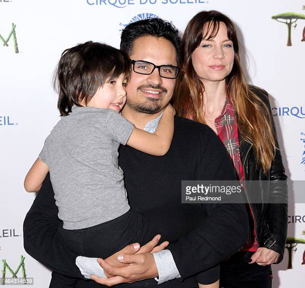 Roman Pena actor Michael Pena and his wife Brie Shaffer attend Totem from Cirque Du Soleil Opening Night on January 21 2014 in Santa Monica California