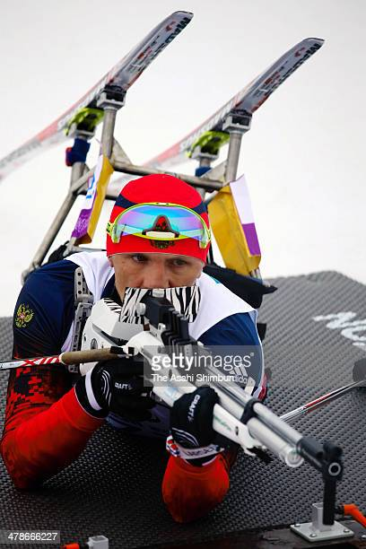Roman Petushkov of Russia competes in the Biathlon Men's 15km Sitting on day seven of the Sochi 2014 Paralympic Winter Games at Laura Crosscountry...