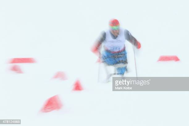 Roman Petushkov of Russia competes in the men's 1km sprint sitting crosscountry during day five of Sochi 2014 Paralympic Winter Games at Laura...