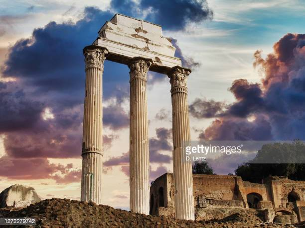 roman pillar ruins - three objects stock pictures, royalty-free photos & images