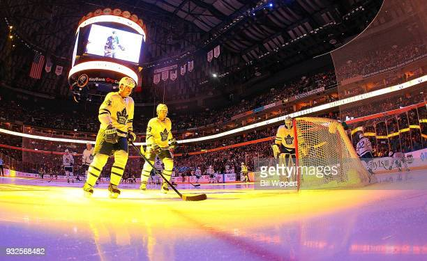 Roman Polak and William Nylander of the Toronto Maple Leafs skate before an NHL game against the Buffalo Sabres on March 15 2018 at KeyBank Center in...