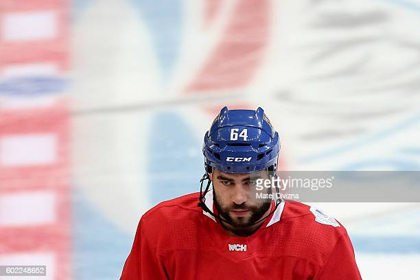 Roman Polak of Czech Republic attends a practice for the 2016 World Cup Of Hockey preparation match between Czech Republic and Russia at O2 Arena on...