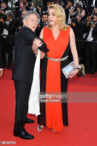 Roman Polanski and Catherine Deneuve attend the 70th Anniversary screening during the 70th annual Cannes Film Festival at Palais des Festivals on May...