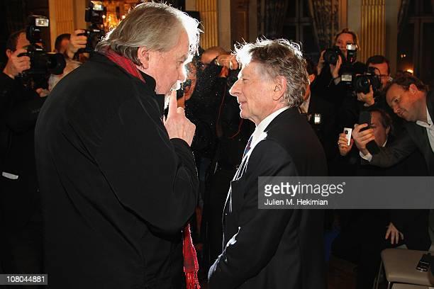Roman Polanski and Michael Lonsdale attend the 16th 'Cerememonie Des Lumieres' at Hotel de Ville on January 14 2011 in Paris France