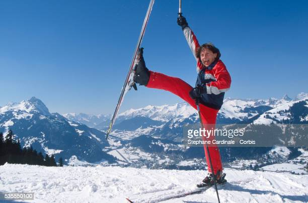 Roman Polanski is skiing on Holidays on March 9, 1996 in Gstaad, Switzerland.