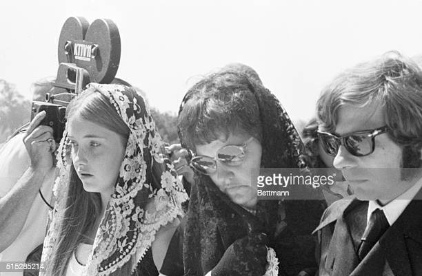 Roman Polanski walks with his motherinlaw Gwendolyn Tate and her younger daughter at the funeral of his wife Sharon Tate Tate and 4 others were...