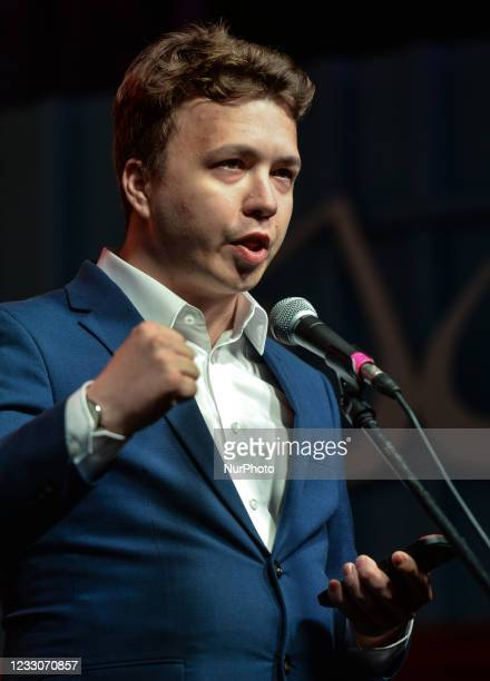 Roman Protasevich addresses the crowd next to a famous Gdansk's Shipyard Gate number 2 on August 31, 2020 during 'Free Poland To Free Belarus'...