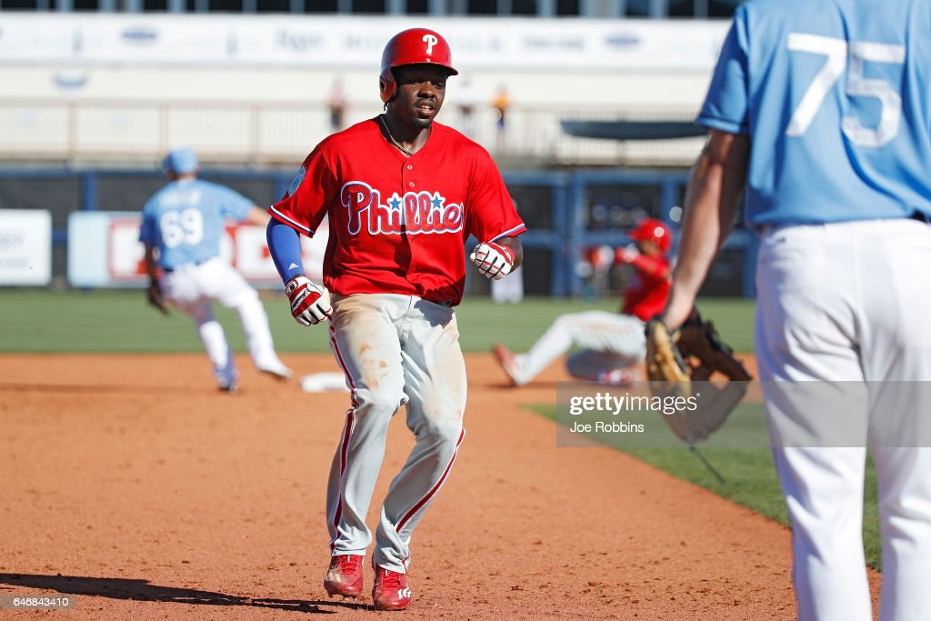 Roman Quinn #24 of the Philadelphia Phillies advances to third base in the ninth inning of a Grapefruit League spring training game against the Tampa Bay Rays at Charlotte Sports Park on March 1, 2017 in Port Charlotte, Florida. The game ended in a 5-5 tie.