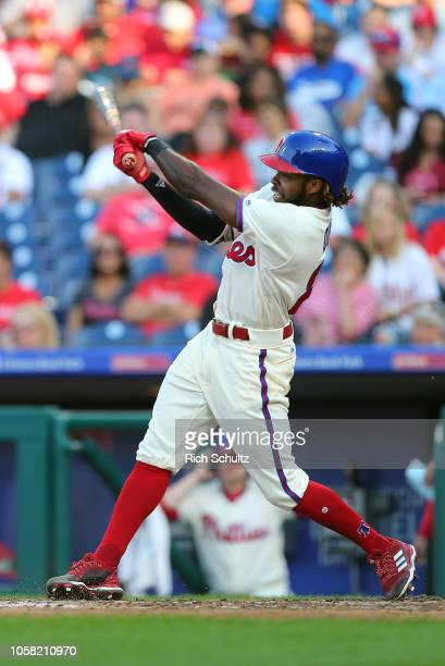 Roman Quinn of the Philadelphia Phillies in action against the Atlanta Braves during of a game at Citizens Bank Park on September 30 2018 in...