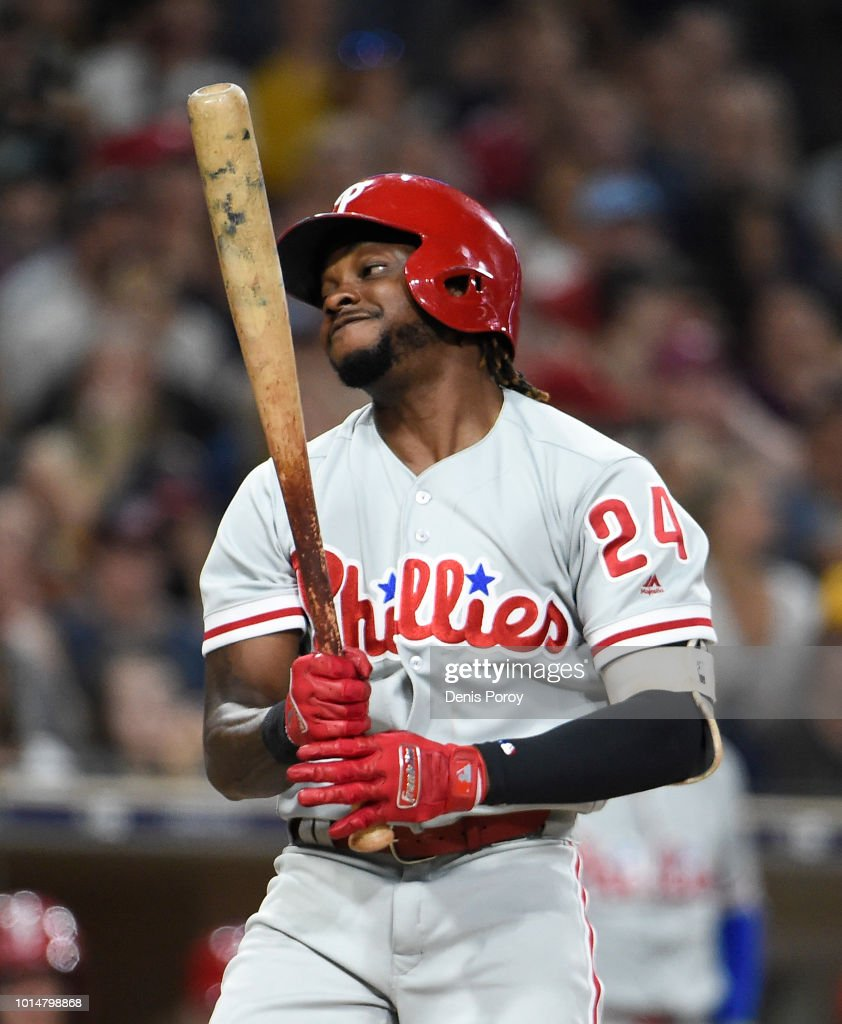 Roman Quinn #24 of the Philadelphia Phillies reacts as he strikes out during the seventh inning of a baseball game against the San Diego Padres at PETCO Park on August 10, 2018 in San Diego, California.
