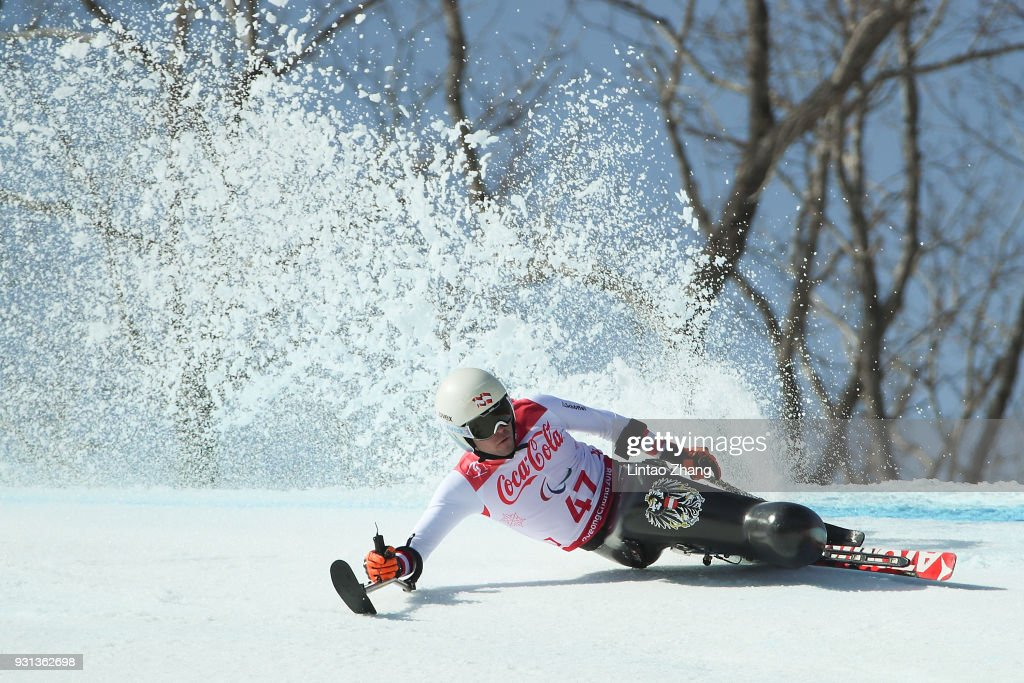 Roman Rabl of Austria competes in the Men's Super Combined Super-G, Sitting at the Jeongseon Alpine Centre during day four of the PyeongChang 2018 Paralympic Games on March 13, 2018 in Pyeongchang-gun, South Korea.