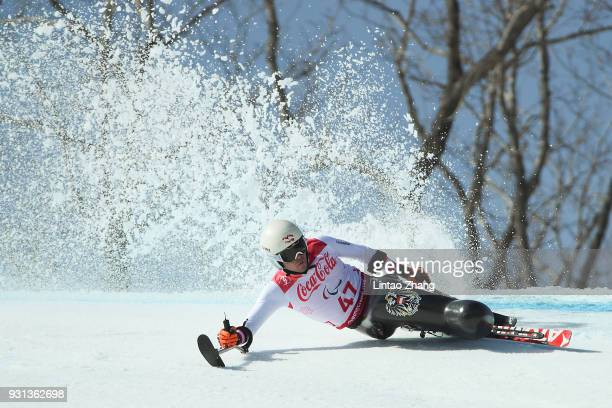 Roman Rabl of Austria competes in the Men's Super Combined SuperG Sitting at the Jeongseon Alpine Centre during day four of the PyeongChang 2018...