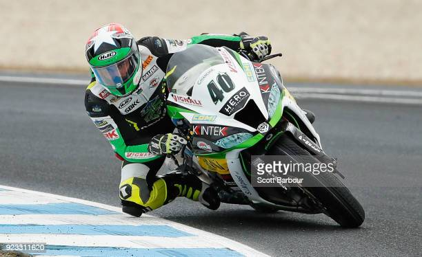 Roman Ramos of Spain and Team GoEleven Kawasaki rides in the FIM Superbike World Championship Free Practice session ahead of the 2018 Superbikes at...