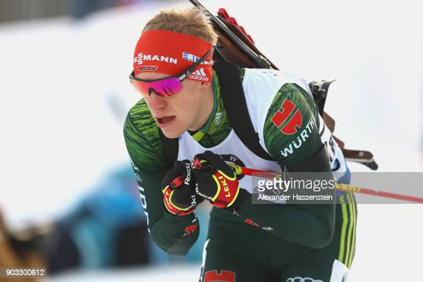 Roman Rees of Germany competes at the men's 20km individual competition during the IBU Biathlon World Cup at Chiemgau Arenaon January 10, 2018 in...