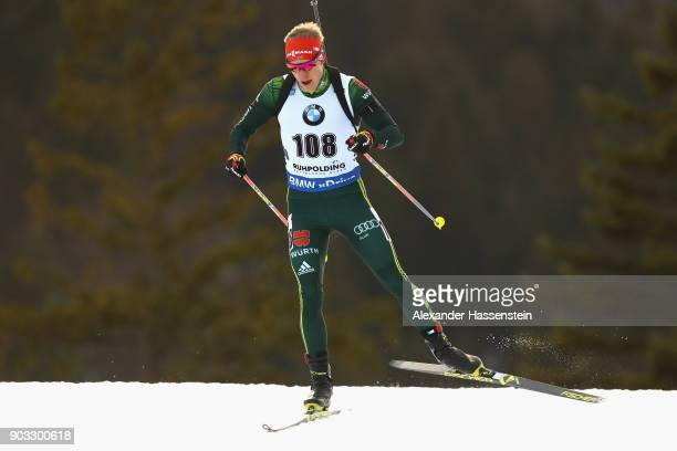 Roman Rees of Germany competes at the men's 20km individual competition during the IBU Biathlon World Cup at Chiemgau Arenaon January 10 2018 in...