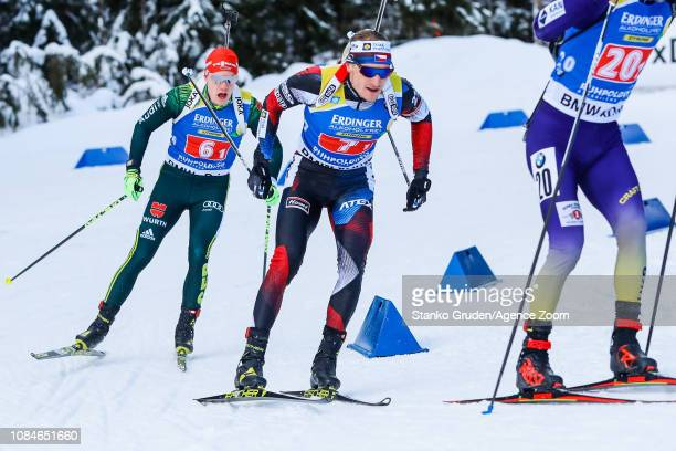 Roman Rees takes 2nd place during the IBU Biathlon World Cup Men's Relay on January 18, 2019 in Ruhpolding, Germany.