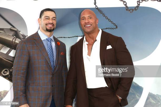 """Roman Reigns and Dwayne Johnson attend the Premiere Of Universal Pictures' """"Fast & Furious Presents: Hobbs & Shaw"""" at Dolby Theatre on July 13, 2019..."""