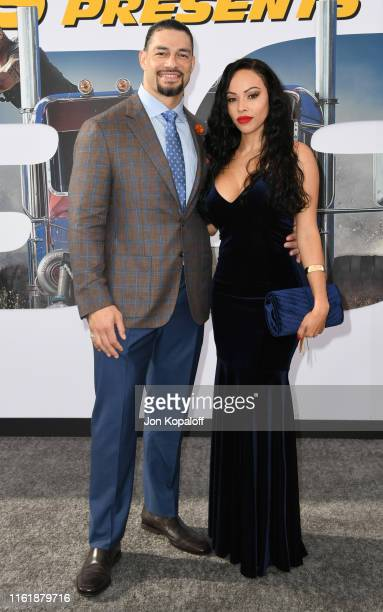 Roman Reigns and Galina Becker attend the Premiere Of Universal Pictures' Fast Furious Presents Hobbs Shaw at Dolby Theatre on July 13 2019 in...