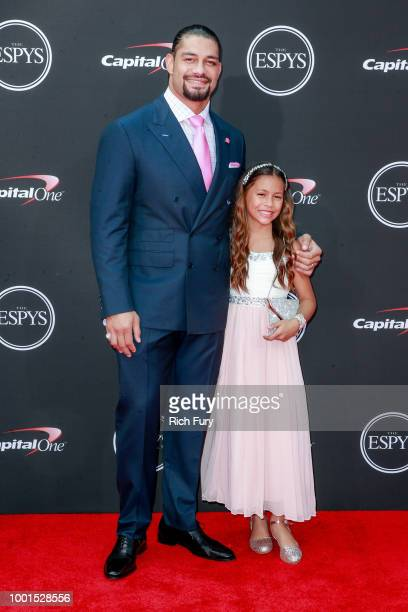 Roman Reigns and Joelle Reigns attend the 2018 ESPYS at Microsoft Theater on July 18 2018 in Los Angeles California