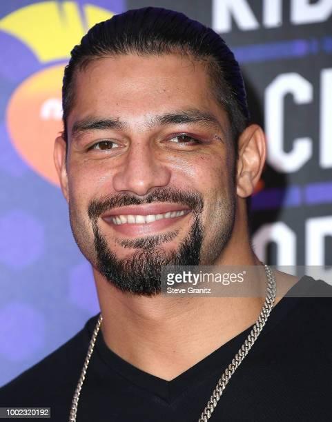 Roman Reigns arrives at the Nickelodeon Kids' Choice Sports Awards 2018 at Barker Hangar on July 19 2018 in Santa Monica California