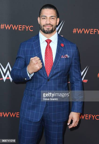Roman Reigns arrives at the WWE's FirstEver Emmy 'For Your Consideration' Event at Saban Media Center on June 6 2018 in North Hollywood California